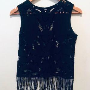 Zara Basic   Black Fringed Lace See-Through Top